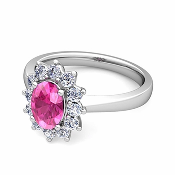 Brilliant Diamond and Pink Sapphire Diana Engagement Ring in Platinum, 7x5mm