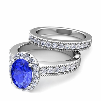 Halo Bridal Set: Milgrain Diamond and Ceylon Sapphire Wedding Ring Set in 14k Gold, 7x5mm