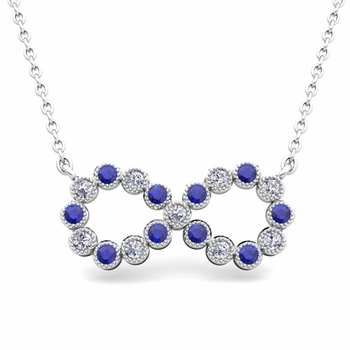 Milgrain Diamond and Sapphire Necklace in 14k Gold Infinity Pendant