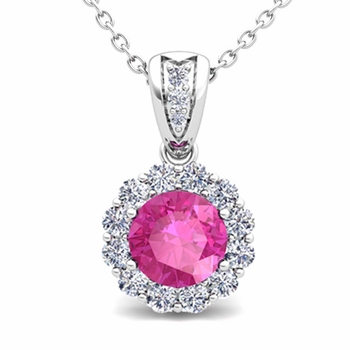 Diamond and Pink Sapphire Pendant in 14k Gold Halo Necklace 6mm