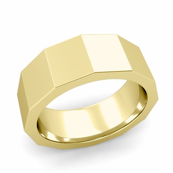 Square Comfort Fit Wedding Ring in 18k Gold Polished Finish Band, 8mm