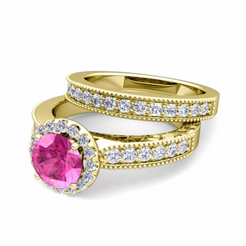 Halo Bridal Set: Milgrain Diamond and Pink Sapphire Wedding Ring Set in 18k Gold, 7mm