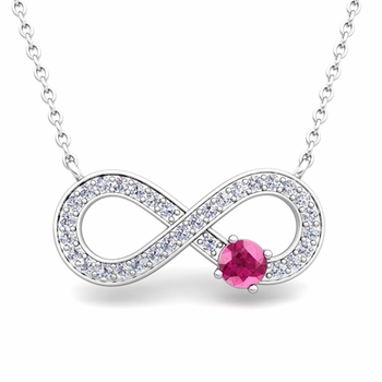 Solitaire Pink Sapphire and Diamond Infinity Necklace in 14k White or Yellow Gold