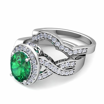 Infinity Diamond and Emerald Engagement Ring Bridal Set in 14k Gold, 7x5mm