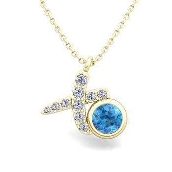 Pave Diamond and Solitaire Blue Topaz in 18k Gold XO Pendant