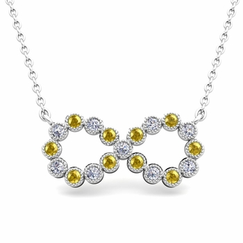 Milgrain Diamond and Yellow Sapphire Necklace in 14k Gold Infinity Pendant