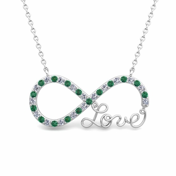 Infinity Diamond and Emerald Love Necklace in 14k Gold Pendant