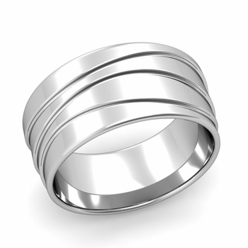 Wave Comfort Fit Wedding Ring in Platinum Polished Finish Band, 10mm