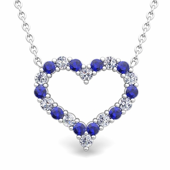 Pave Diamond and Sapphire Heart Necklace in 14k Gold Pendant