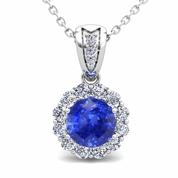 Diamond and Ceylon Sapphire Pendant in 14k Gold Halo Necklace 6mm