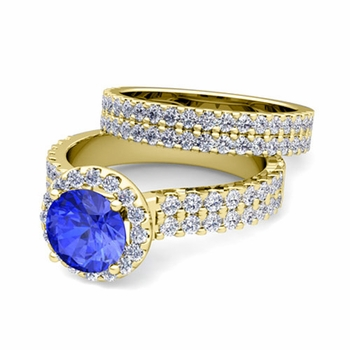 Two Row Diamond and Ceylon Sapphire Engagement Ring Bridal Set in 18k Gold, 6mm