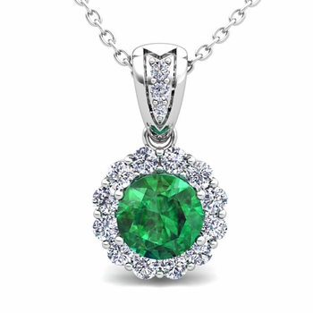 Diamond and Emerald Pendant in 14k Gold Halo Necklace 6mm