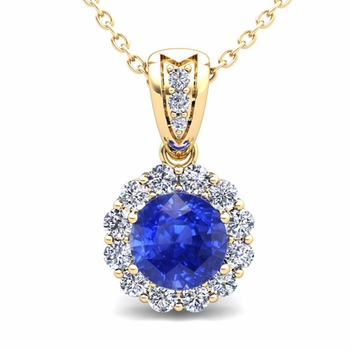 Diamond and Ceylon Sapphire Pendant in 18k Gold Halo Necklace 6mm