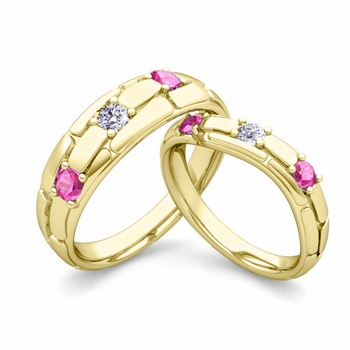 Matching Wedding Band: His and Hers Diamond Pink Sapphire Ring in 18k Gold