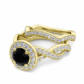 Infinity Black and White Diamond Engagement Ring Bridal Set in 18k Gold, 7mm