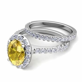 Bridal Set: Pave Diamond and Yellow Sapphire Engagement Wedding Ring in Platinum, 7x5mm