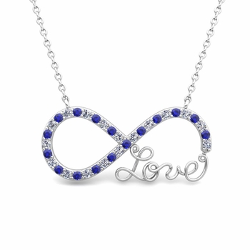 Infinity Diamond and Sapphire Love Necklace in 14k Gold Pendant