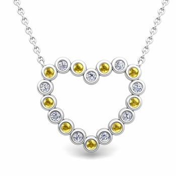 Bezel Diamond and Yellow Sapphire Heart Necklace in 14k Gold Pendant