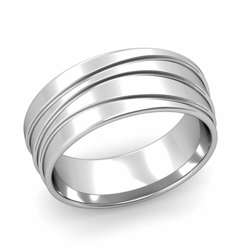 Wave Comfort Fit Wedding Ring in Platinum Polished Finish Band, 8mm