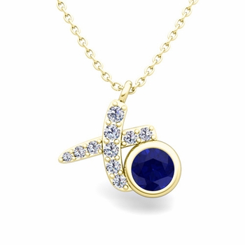 Pave Diamond and Solitaire Sapphire in 18k Gold XO Pendant
