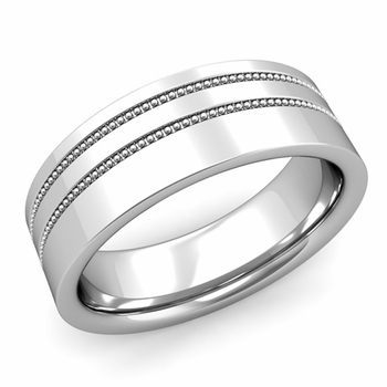 Double Milgrain Wedding Ring in Platinum Comfort Fit Band, Polished Finish, 7mm