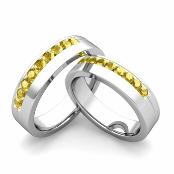 Matching Wedding Bands: Channel Set Yellow Sapphire Wedding Rings in Platinum