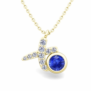 Pave Diamond and Solitaire Ceylon Sapphire in 18k Gold XO Pendant