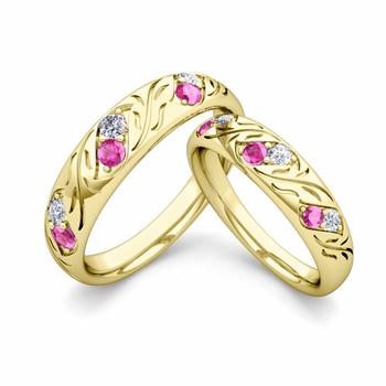 His and Hers Matching Wedding Band in 18k Gold: Diamond and Pink Sapphire