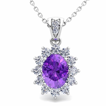 Diamond and Amethyst Necklace in 14k Gold Halo Pendant 8x6mm