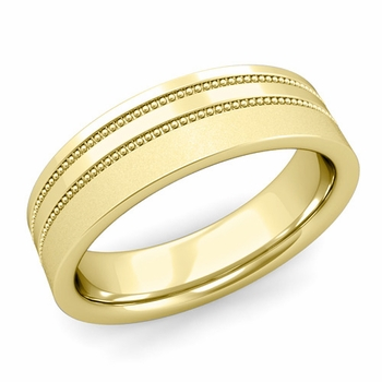 Double Milgrain Wedding Ring in 18k Gold Comfort Fit Band, Satin Finish, 6mm