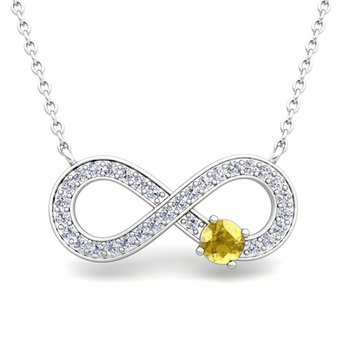 Solitaire Sapphire and Diamond Infinity Necklace in 14k White or Yellow Gold
