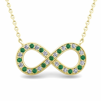 Classic Diamond and Emerald Necklace in 18k Gold Infinity Pendant