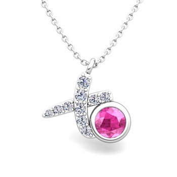 Pave Diamond and Solitaire Pink Sapphire in 14k Gold XO Pendant