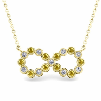 Milgrain Diamond and Yellow Sapphire Necklace in 18k Gold Infinity Pendant