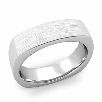 Square Comfort Fit Wedding Ring in Platinum Matte Brushed Band, 6mm