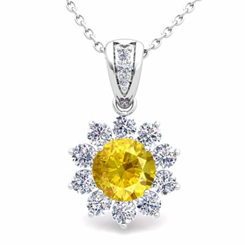 Halo Diamond and Yellow Sapphire Pendant in 14k Gold Necklace 6mm