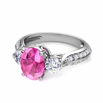 Vintage Inspired Diamond and Pink Sapphire Three Stone Ring in Platinum, 9x7mm