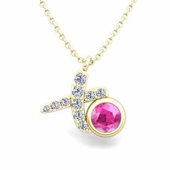 Pave Diamond and Solitaire Pink Sapphire in 18k Gold XO Pendant