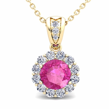 Diamond and Pink Sapphire Pendant in 18k Gold Halo Necklace 6mm