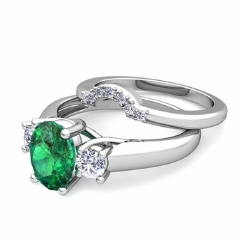 Classic Diamond and Emerald Three Stone Ring Bridal Set in Platinum, 7x5mm