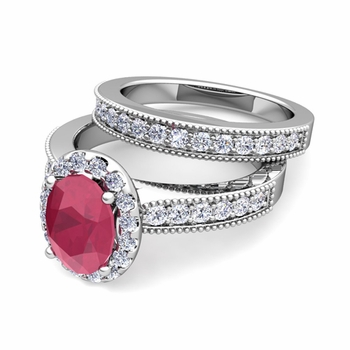 Halo Bridal Set: Milgrain Diamond and Ruby Engagement Wedding Ring Set in Platinum, 7x5mm