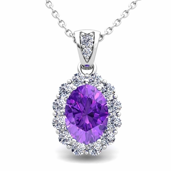 Halo Diamond and Amethyst Necklace in 14k Gold Pendant 8x6mm