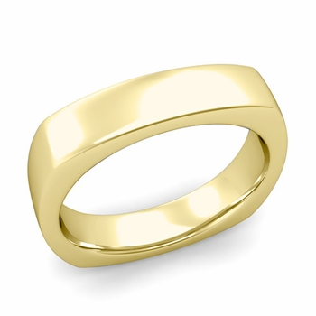Square Comfort Fit Wedding Ring in 18K Gold Polished Band, 5mm