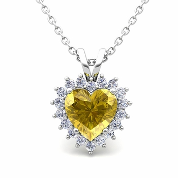 Heart Yellow Sapphire and Diamond Necklace in 14k Gold Pendant