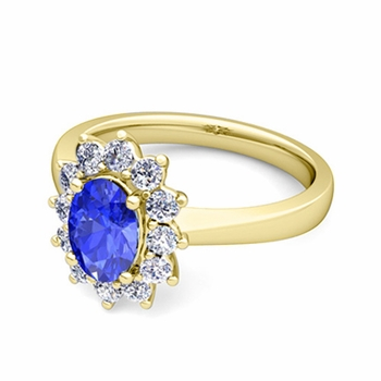 Brilliant Diamond and Ceylon Sapphire Diana Engagement Ring in 18k Gold, 9x7mm