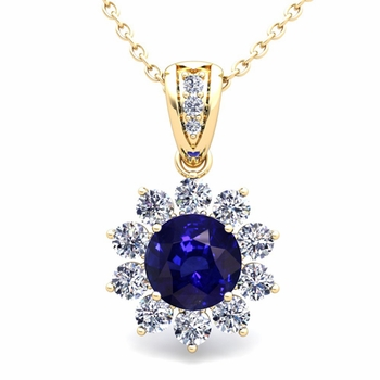 Halo Diamond and Sapphire Pendant in 18k Gold Necklace 6mm