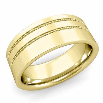 Double Milgrain Wedding Ring in 18k Gold Comfort Fit Band, Polished Finish, 8mm