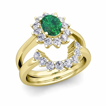Diamond and Emerald Diana Engagement Ring Bridal Set in 18k Gold, 9x7mm