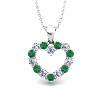 Heart Diamond and Emerald Necklace in 14k Gold Pendant