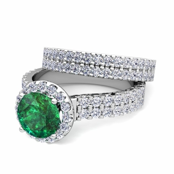 Two Row Diamond and Emerald Engagement Ring Bridal Set in 14k Gold, 7mm
